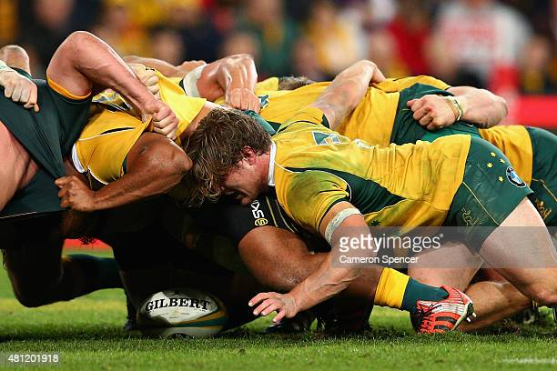 Michael Hooper of the Wallabies and team mates pack down a scrum during The Rugby Championship match between the Australian Wallabies and the South...