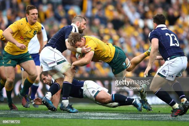 Michael Hooper of the Wallabies breaks through the Scotland defence during the International Test match between the Australian Wallabies and Scotland...