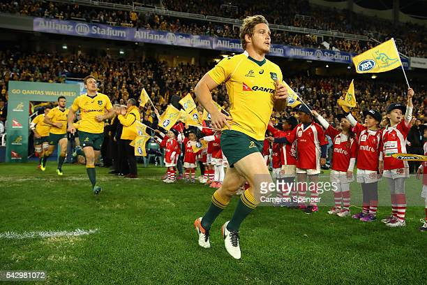 Michael Hooper of the Wallabies runs onto the field during the International Test match between the Australian Wallabies and England at Allianz...