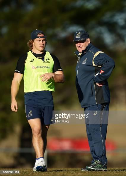 Michael Hooper of the Wallabies speaks to Wallabies coach Ewen McKenzie during an Australian Wallabies training session at Bathurst Bulldogs RUFC on...