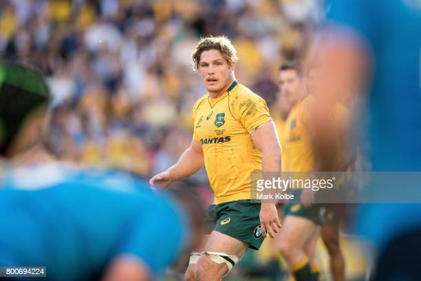 Michael Hooper of the Wallabies watches on during the International Test match between the Australian Wallabies and Italy at Suncorp Stadium on June...