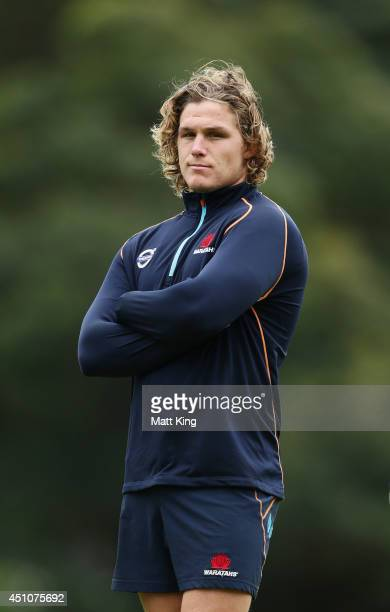 Michael Hooper of the Waratahs looks on during a Waratahs training session at Kippax Lake on June 23 2014 in Sydney Australia