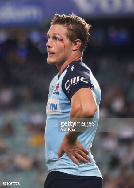 Michael Hooper of the Waratahs looks on during the round nine Super Rugby match between the Waratahs and the Kings at Allianz Stadium on April 21...