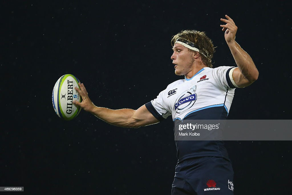 <a gi-track='captionPersonalityLinkClicked' href=/galleries/search?phrase=Michael+Hooper&family=editorial&specificpeople=676799 ng-click='$event.stopPropagation()'>Michael Hooper</a> of the Waratahs wins the lineout ball during the Super Rugby trial match between the Waratahs and the Highlanders at Hunter Stadium on February 14, 2014 in Newcastle, Australia.