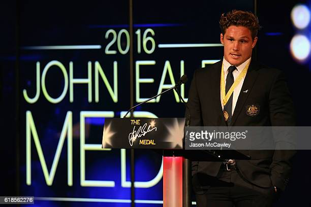 Michael Hooper speaks on stage after winning the John Eales Medal during the 2016 John Eales Medal at Royal Randwick Racecourse on October 27 2016 in...