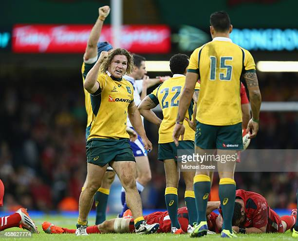 Michael Hooper the captain of Australia celebrates his sides 3328 victory on the final whistle during the International match between Wales and...