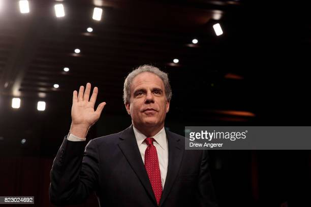 Michael Horowitz Inspector General of the US Department of Justice is swornin during a Senate Judiciary Committee hearing titled 'Oversight of the...