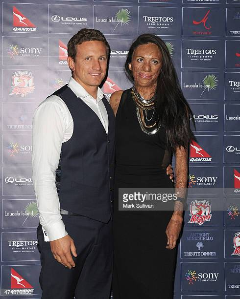 Michael Hoskin and Turia Pitt at a tribute dinner hosted by Anthony Minichiello for the Sony Foundation at The Ivy on May 22 2015 in Sydney Australia