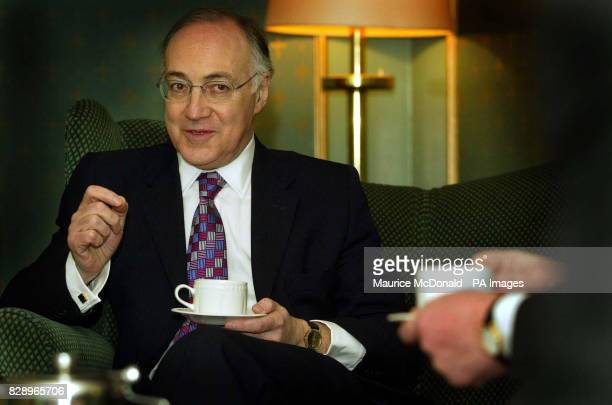 Michael Howard leader of the Conservative party in the Douglas Arms Hotel as he talks about pension books and the new government direct payment in...