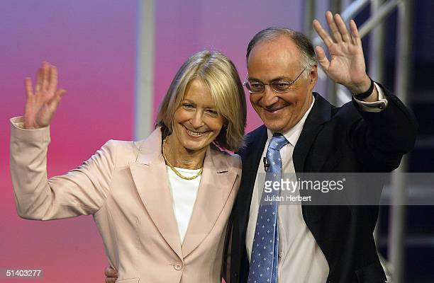 Michael Howard leader of the Tory party is joined by his wife Sandra after making his speech to delegates during day two of The Conservative Party...
