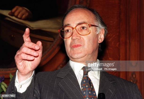 Michael Howard speaking at a news conference today where he announced he is to throw his hat into the ring for the Tory party leadership The...