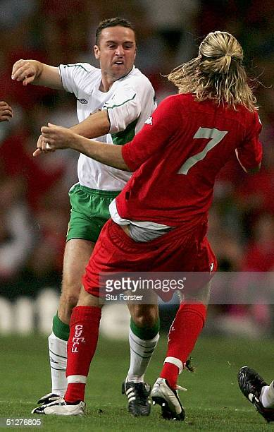Michael Hughes of Northern Ireland pushes Robbie Savage of Wales as both are sent off during the Group Six World Cup Qualifier between Wales and...