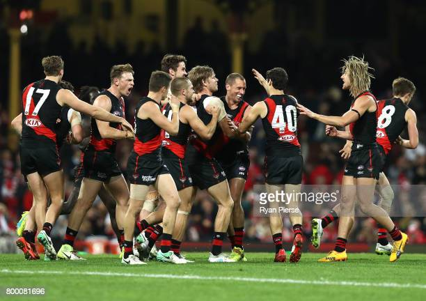 Michael Hurley of the Bombers celebrates a goal during the round 14 AFL match between the Sydney Swans and the Essendon Bombers at Sydney Cricket...