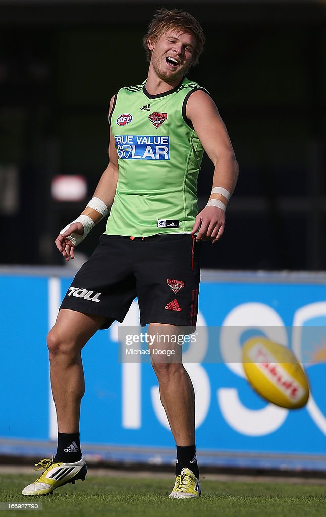 Michael Hurley of the Bombers reacts after missing a kick for goal during an Essendon Bombers AFL training session at Windy Hill on April 19, 2013 in Melbourne, Australia.