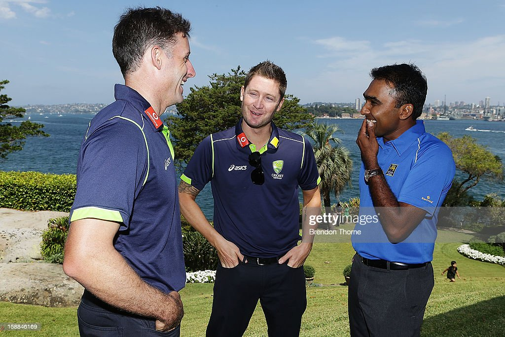 <a gi-track='captionPersonalityLinkClicked' href=/galleries/search?phrase=Michael+Hussey&family=editorial&specificpeople=171690 ng-click='$event.stopPropagation()'>Michael Hussey</a> and Michael Clarke of Australia share a joke with <a gi-track='captionPersonalityLinkClicked' href=/galleries/search?phrase=Mahela+Jayawardene&family=editorial&specificpeople=213707 ng-click='$event.stopPropagation()'>Mahela Jayawardene</a> of Sri Lanka during a function at Kirribilli House on January 1, 2013 in Sydney, Australia.