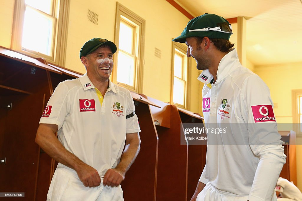 Michael Hussey and Nathan Lyon of Australia pose in the change room after Hussey's retirement from international cricket after day four of the Third Test match between Australia and Sri Lanka at Sydney Cricket Ground on January 6, 2013 in Sydney, Australia.