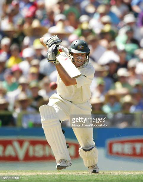 Michael Hussey batting for Australia during his innings of 74 not out in the 3rd Test match between Australia and England at the WACA Perth Australia...