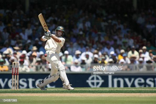 Michael Hussey during the 3 Ashes Third Test First Day at the WACA Ground in Perth Australia on December 14 2005