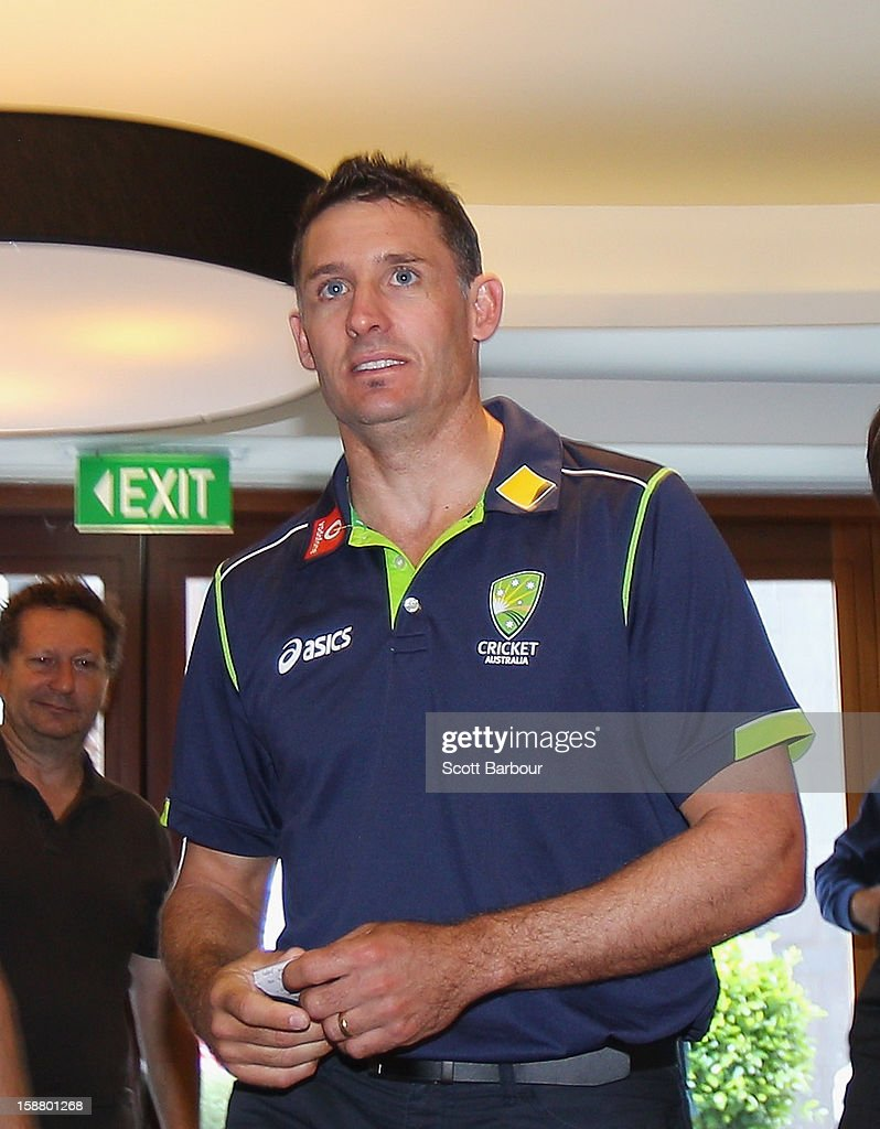 <a gi-track='captionPersonalityLinkClicked' href=/galleries/search?phrase=Michael+Hussey&family=editorial&specificpeople=171690 ng-click='$event.stopPropagation()'>Michael Hussey</a> of Australia arrives at a press conference on December 30, 2012 in Melbourne, Australia. Mike Hussey has announced that the third Vodafone Test against Sri Lanka in Sydney will be his last Test for Australia.