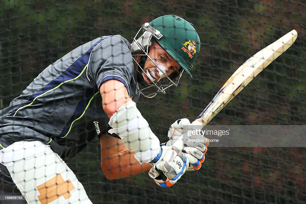 <a gi-track='captionPersonalityLinkClicked' href=/galleries/search?phrase=Michael+Hussey&family=editorial&specificpeople=171690 ng-click='$event.stopPropagation()'>Michael Hussey</a> of Australia bats during an Australian nets session at Sydney Cricket Ground on January 2, 2013 in Sydney, Australia.