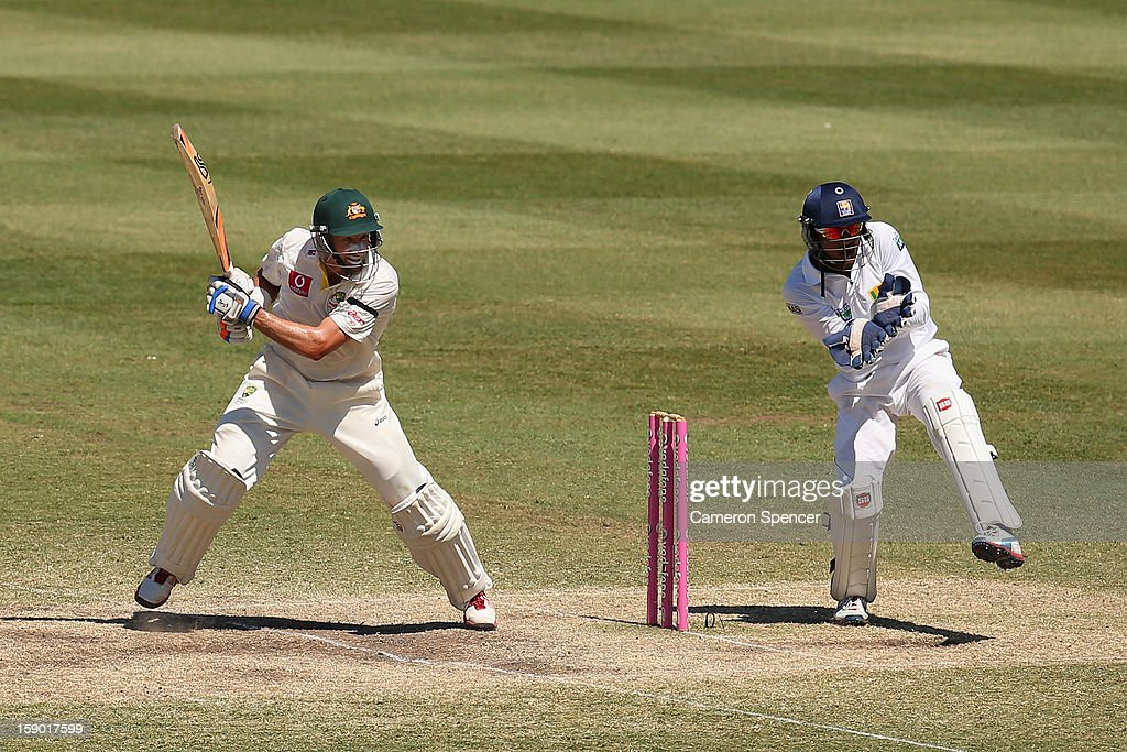 Michael Hussey of Australia bats during day four of the Third Test match between Australia and Sri Lanka at Sydney Cricket Ground on January 6, 2013 in Sydney, Australia.