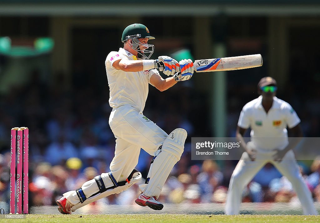 Michael Hussey of Australia bats during day four of the Third Test match between Australia and Sri Lanka at the Sydney Cricket Ground on January 6, 2013 in Sydney, Australia.