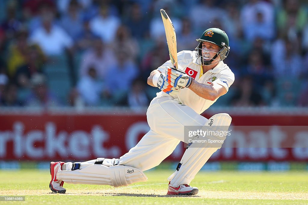 <a gi-track='captionPersonalityLinkClicked' href=/galleries/search?phrase=Michael+Hussey&family=editorial&specificpeople=171690 ng-click='$event.stopPropagation()'>Michael Hussey</a> of Australia bats during day one of the 2nd Test match between Australia and South Africa at Adelaide Oval on November 22, 2012 in Adelaide, Australia.