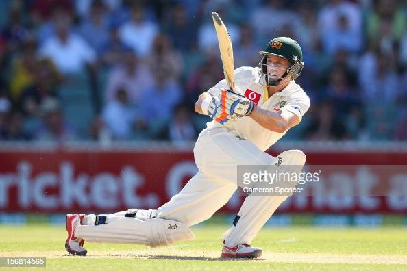 Michael Hussey of Australia bats during day one of the 2nd Test match between Australia and South Africa at Adelaide Oval on November 22 2012 in...