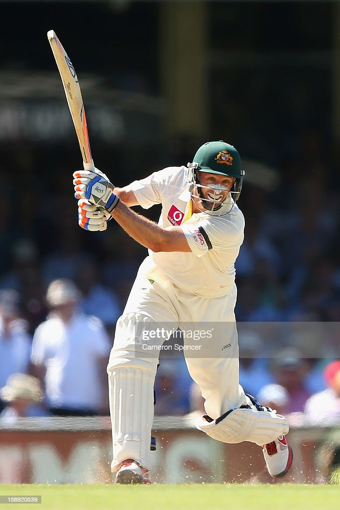 <a gi-track='captionPersonalityLinkClicked' href=/galleries/search?phrase=Michael+Hussey&family=editorial&specificpeople=171690 ng-click='$event.stopPropagation()'>Michael Hussey</a> of Australia bats during day two of the Third Test match between Australia and Sri Lanka at Sydney Cricket Ground on January 4, 2013 in Sydney, Australia.