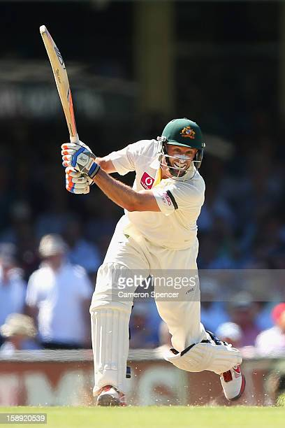 Michael Hussey of Australia bats during day two of the Third Test match between Australia and Sri Lanka at Sydney Cricket Ground on January 4 2013 in...
