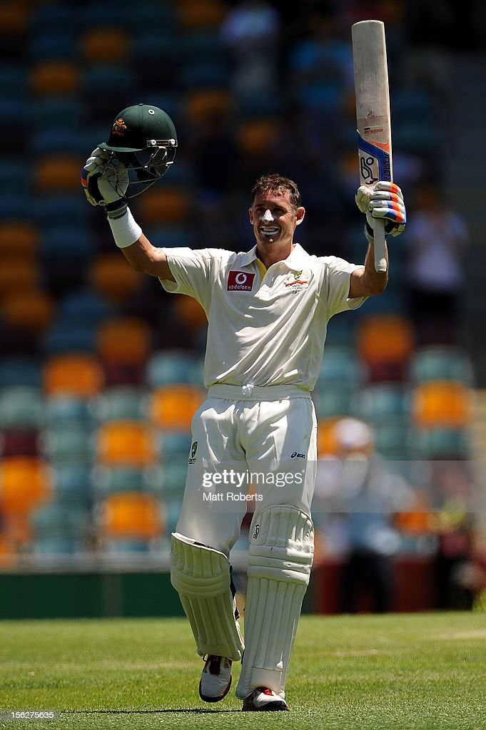 <a gi-track='captionPersonalityLinkClicked' href=/galleries/search?phrase=Michael+Hussey&family=editorial&specificpeople=171690 ng-click='$event.stopPropagation()'>Michael Hussey</a> of Australia celebrates his century during day five of the First Test match between Australia and South Africa at The Gabba on November 13, 2012 in Brisbane, Australia.