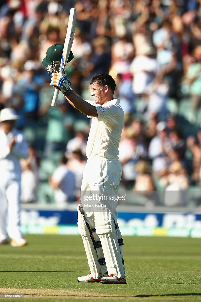 <a gi-track='captionPersonalityLinkClicked' href=/galleries/search?phrase=Michael+Hussey&family=editorial&specificpeople=171690 ng-click='$event.stopPropagation()'>Michael Hussey</a> of Australia celebrates his century during day one of the 2nd Test match between Australia and South Africa at Adelaide Oval on November 22, 2012 in Adelaide, Australia.