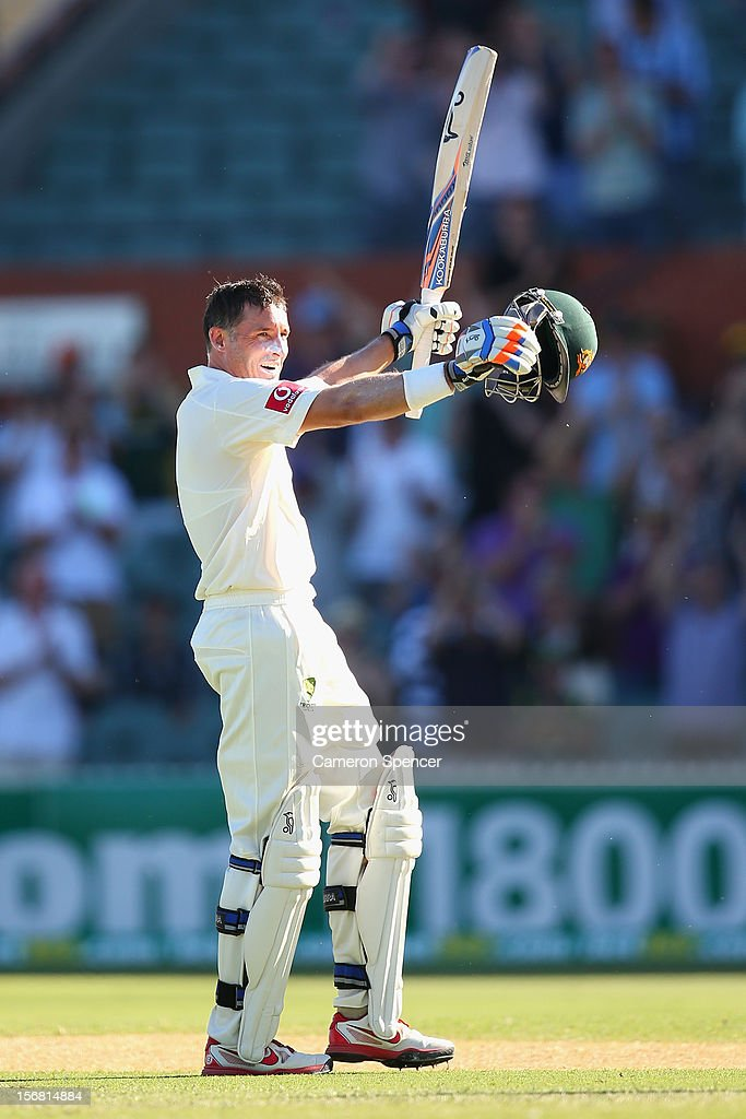 <a gi-track='captionPersonalityLinkClicked' href=/galleries/search?phrase=Michael+Hussey&family=editorial&specificpeople=171690 ng-click='$event.stopPropagation()'>Michael Hussey</a> of Australia celebrates scoring a century during day one of the 2nd Test match between Australia and South Africa at Adelaide Oval on November 22, 2012 in Adelaide, Australia.