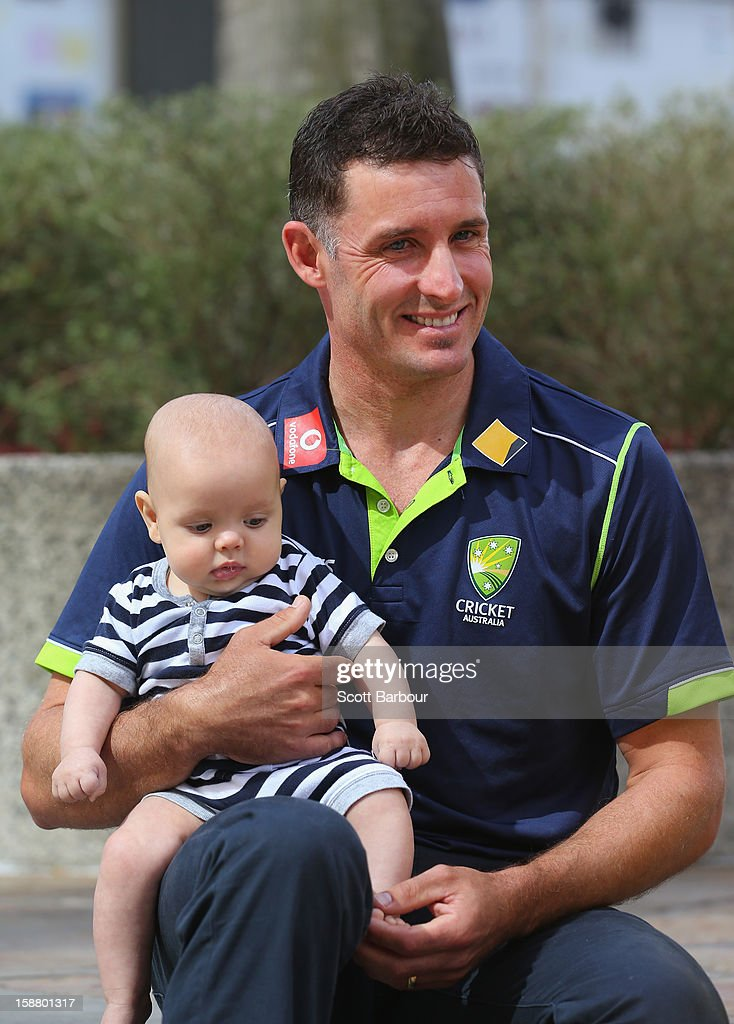 <a gi-track='captionPersonalityLinkClicked' href=/galleries/search?phrase=Michael+Hussey&family=editorial&specificpeople=171690 ng-click='$event.stopPropagation()'>Michael Hussey</a> of Australia holds his son Oscar after a press conference on December 30, 2012 in Melbourne, Australia. Mike Hussey has announced that the third Vodafone Test against Sri Lanka in Sydney will be his last Test for Australia.
