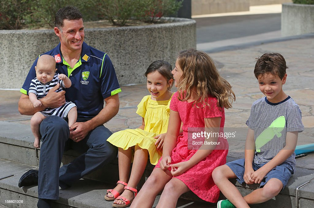 <a gi-track='captionPersonalityLinkClicked' href=/galleries/search?phrase=Michael+Hussey&family=editorial&specificpeople=171690 ng-click='$event.stopPropagation()'>Michael Hussey</a> of Australia holds his son Oscar as he talks to his daughters Jasmin and Molly and son William after a press conference on December 30, 2012 in Melbourne, Australia. Mike Hussey has announced that the third Vodafone Test against Sri Lanka in Sydney will be his last Test for Australia.
