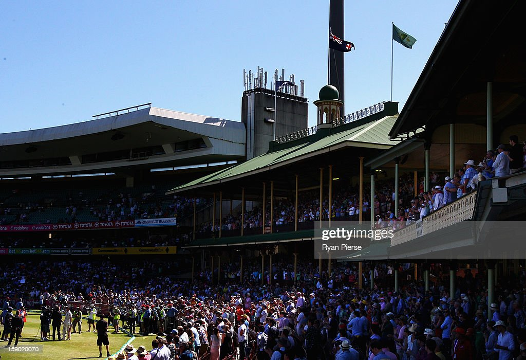 Michael Hussey of Australia is interviewed in front of the Members Stand after playing his last last test match during day four of the Third Test match between Australia and Sri Lanka at Sydney Cricket Ground on January 6, 2013 in Sydney, Australia.