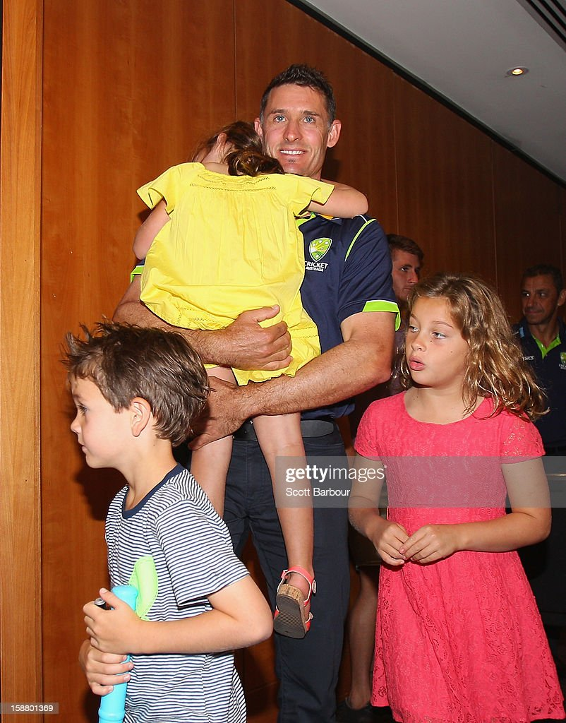 <a gi-track='captionPersonalityLinkClicked' href=/galleries/search?phrase=Michael+Hussey&family=editorial&specificpeople=171690 ng-click='$event.stopPropagation()'>Michael Hussey</a> of Australia leaves after a press conference with his daughters Jasmin and Molly and son William on December 30, 2012 in Melbourne, Australia. Mike Hussey has announced that the third Vodafone Test against Sri Lanka in Sydney will be his last Test for Australia.