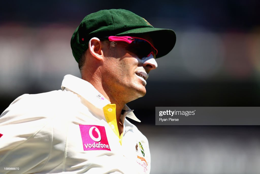 Michael Hussey of Australia looks on during day three of the Third Test match between Australia and Sri Lanka at Sydney Cricket Ground on January 5, 2013 in Sydney, Australia.
