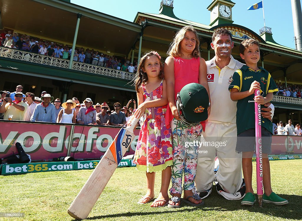 Michael Hussey of Australia poses with his children William, Molly and Jasmine after his last last test match during day four of the Third Test match between Australia and Sri Lanka at Sydney Cricket Ground on January 6, 2013 in Sydney, Australia.