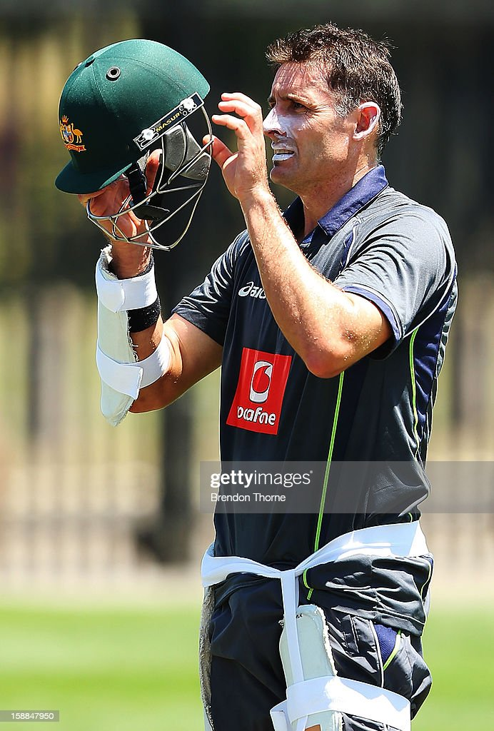 <a gi-track='captionPersonalityLinkClicked' href=/galleries/search?phrase=Michael+Hussey&family=editorial&specificpeople=171690 ng-click='$event.stopPropagation()'>Michael Hussey</a> of Australia prepares to bat during an Australian nets session at Sydney Cricket Ground on January 1, 2013 in Sydney, Australia.
