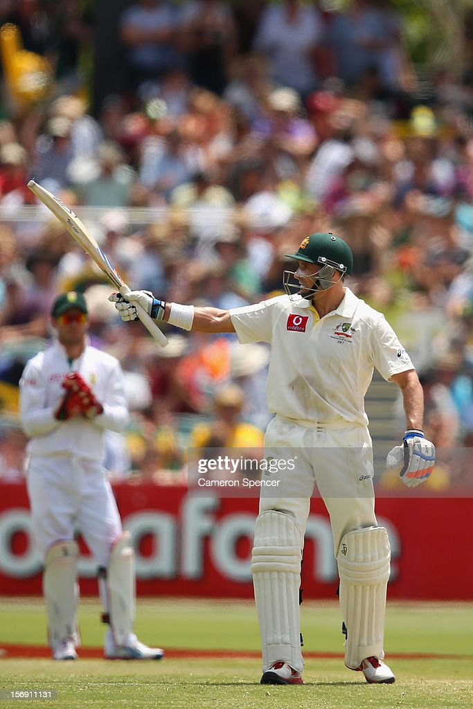 Michael Hussey of Australia scores fifty runs during day four of the Second Test Match between Australia and South Africa at Adelaide Oval on November 25, 2012 in Adelaide, Australia.