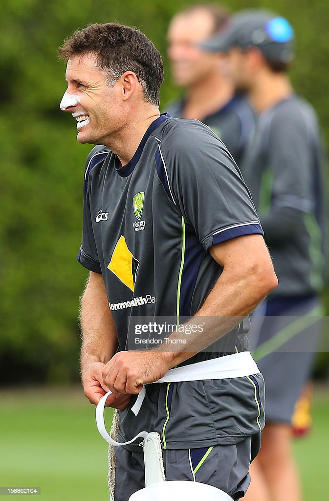 <a gi-track='captionPersonalityLinkClicked' href=/galleries/search?phrase=Michael+Hussey&family=editorial&specificpeople=171690 ng-click='$event.stopPropagation()'>Michael Hussey</a> of Australia shares a joke with a team mate during an Australian nets session at Sydney Cricket Ground on January 2, 2013 in Sydney, Australia.