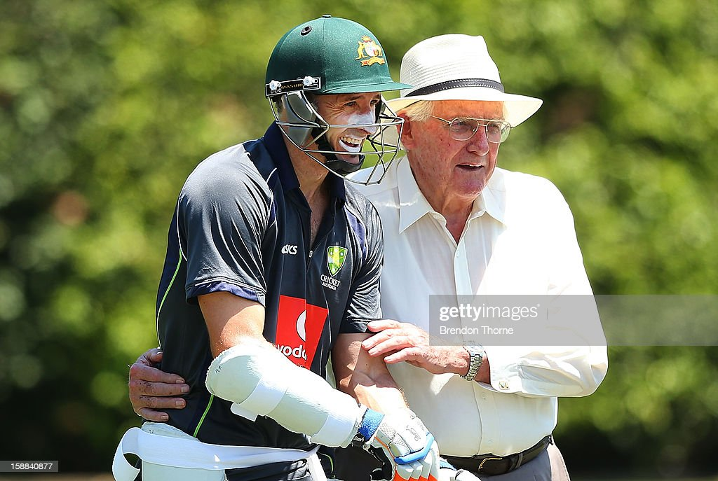 <a gi-track='captionPersonalityLinkClicked' href=/galleries/search?phrase=Michael+Hussey&family=editorial&specificpeople=171690 ng-click='$event.stopPropagation()'>Michael Hussey</a> of Australia shares a joke with former Australian test crickter Alan Davidson during an Australian nets session at Sydney Cricket Ground on January 1, 2013 in Sydney, Australia.