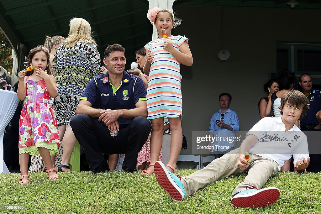 <a gi-track='captionPersonalityLinkClicked' href=/galleries/search?phrase=Michael+Hussey&family=editorial&specificpeople=171690 ng-click='$event.stopPropagation()'>Michael Hussey</a> of Australia sits with his daughters during a function at Kirribilli House on January 1, 2013 in Sydney, Australia.