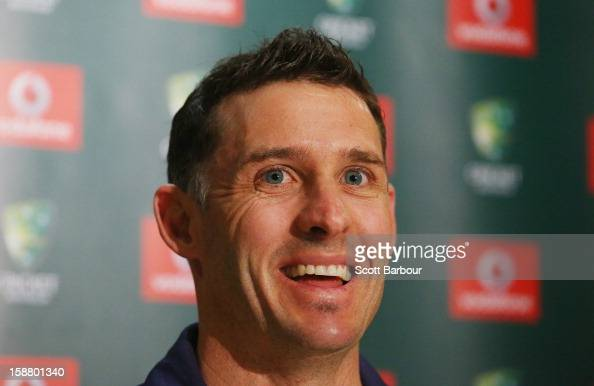 Michael Hussey of Australia speaks during a press conference on December 30 2012 in Melbourne Australia Mike Hussey has announced that the third...