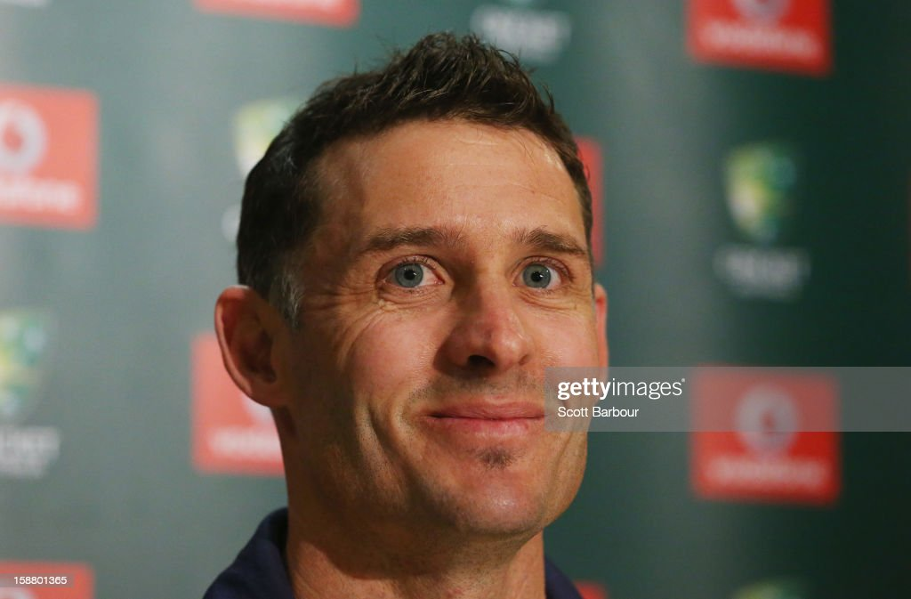 Michael Hussey of Australia speaks during a press conference on December 30, 2012 in Melbourne, Australia. Mike Hussey has announced that the third Vodafone Test against Sri Lanka in Sydney will be his last Test for Australia.