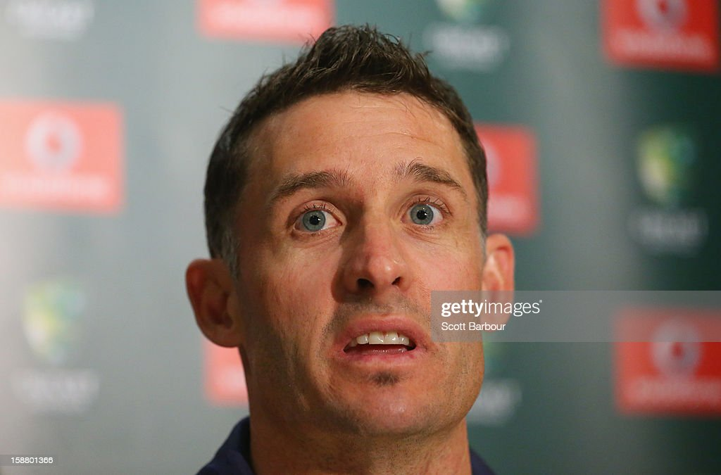 <a gi-track='captionPersonalityLinkClicked' href=/galleries/search?phrase=Michael+Hussey&family=editorial&specificpeople=171690 ng-click='$event.stopPropagation()'>Michael Hussey</a> of Australia speaks during a press conference on December 30, 2012 in Melbourne, Australia. Mike Hussey has announced that the third Vodafone Test against Sri Lanka in Sydney will be his last Test for Australia.