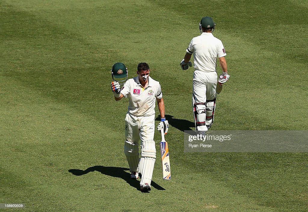 Michael Hussey of Australia walks from the ground after being run out during his last test during day two of the Third Test match between Australia and Sri Lanka at Sydney Cricket Ground on January 4, 2013 in Sydney, Australia.