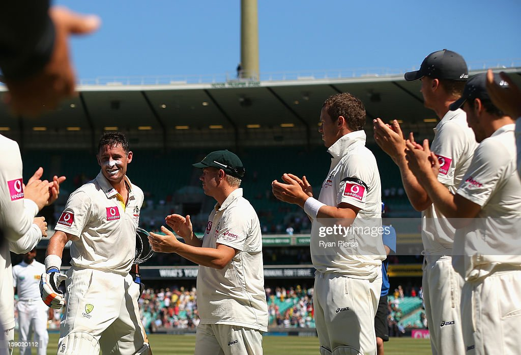 Michael Hussey of Australia walks from the ground after his last last test match during day four of the Third Test match between Australia and Sri Lanka at Sydney Cricket Ground on January 6, 2013 in Sydney, Australia.
