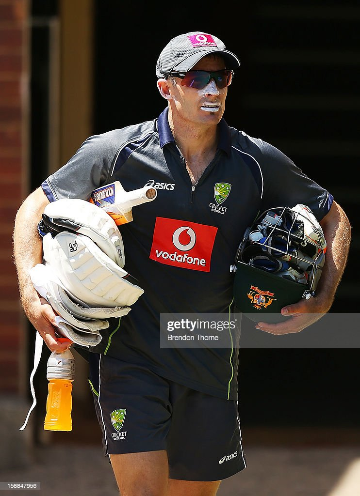 <a gi-track='captionPersonalityLinkClicked' href=/galleries/search?phrase=Michael+Hussey&family=editorial&specificpeople=171690 ng-click='$event.stopPropagation()'>Michael Hussey</a> of Australia walks to an Australian nets session at Sydney Cricket Ground on January 1, 2013 in Sydney, Australia.